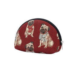 Pug Cosmetic Bag | Red Tapestry Womens Makeup Case | COSM-PUG