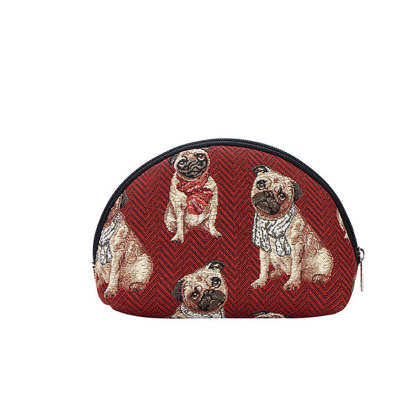 Pug Cosmetic Bag | Cute Dog Design Tapestry Makeup Case | COSM-PUG
