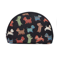 Playful Puppy Cosmetic Bag | Black Tapestry Womens Makeup Case | COSM-PUPPY