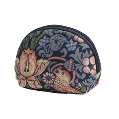 William Morris Strawberry Thief Blue Cosmetic Bag | Floral Tapestry Small Makeup Bag | COSM-STBL