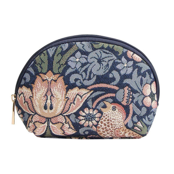 William Morris Strawberry Thief Blue Cosmetic Bag | Floral Tapestry Art Makeup Case | COSM-STBL