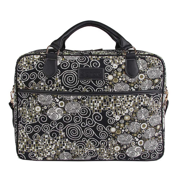Gustav Klimt Computer Bag | Black Tapestry Laptop Case 15.6 inch | Kiss - Black & White | CPU-KISS