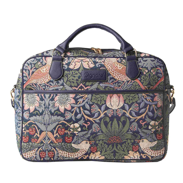 William Morris Strawberry Thief Blue Computer Bag | Floral Tapestry Laptop Case 15.6 inch | CPU-STBL
