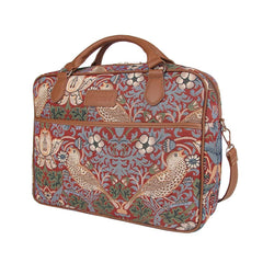 Strawberry Thief Red Computer Bag | Floral Tapestry Laptop Case 15.6 inch | CPU-STRD