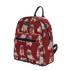 Pug Day Pack | Cute Dog Tapestry Small Backpack for Women | DAPK-PUG