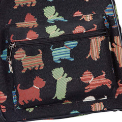 Playful Puppy Day Pack | Black Tapestry Small Backpack for Women | DAPK-PUPPY