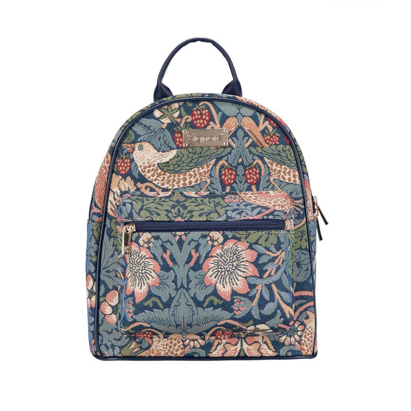 Strawberry Thief Blue Casual Daypack | Small Backpack for Women | DAPK-STBL
