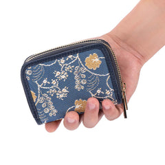 Jane Austen Blue Double Zip Card Holder | Blue RFID Purse | DZIP-AUST