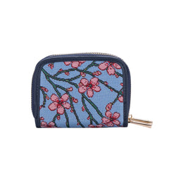Almond Blossom and Swallow Double Zip Purse | RFID Card Holder Purse | DZIP-BLOS