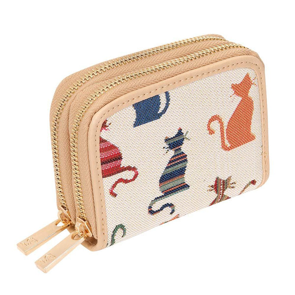 Cheeky Cat Double Zip Around Purse| Cute Tapestry RFID Security Wallet | DZIP-CHEKY