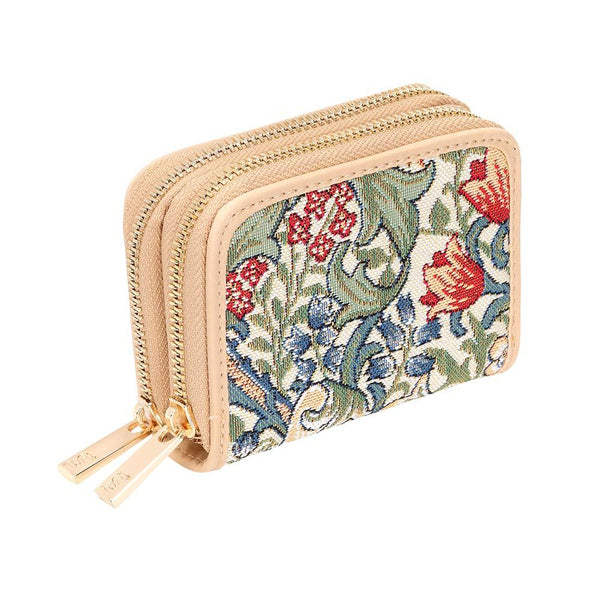 William Morris Golden Lily Double Zip Card Holder | Anti RFID Card Holder | DZIP-GLILY