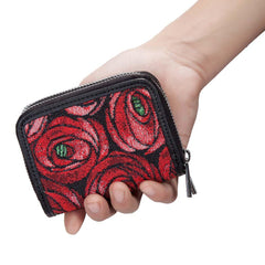 Mackintosh Rose and Teardrop Double Zip Purse | Red Floral RFID Wallet | DZIP-RMTD