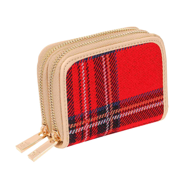 Royal Stewart Tartan Double Zip Around Credit Card Holder | RFID Card Holder | DZIP-RSTT