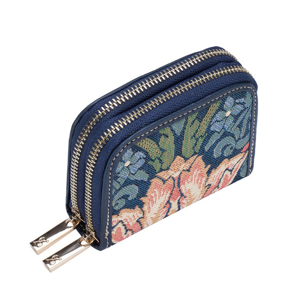 Strawberry Thief Blue Double Zip Around Purse | Floral RFID Security Wallet | DZIP-STBL
