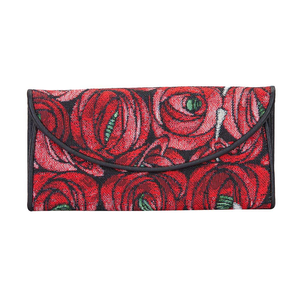 Mackintosh Rose and Teardrop Envelope Purse | Red Floral Tapestry Wallet | ENVE-RMTD