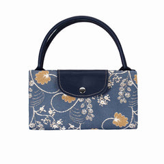 Jane Austen Blue Foldable Shopping Bag | Oak Flower Folding Grocery Bags Reusable | FDAW-AUST