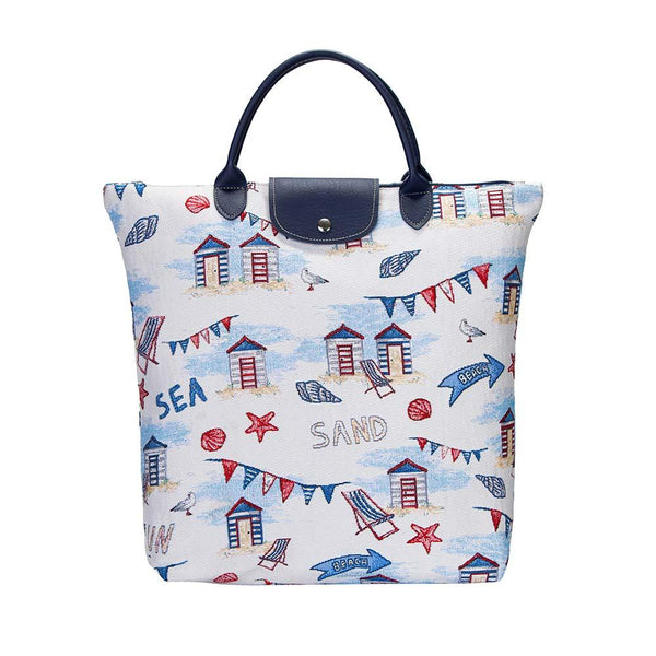 Beach Hut Fold Away shopping Bag | Unique Reusable Foldable Portable Stylish Tote | FDAW-BHUT