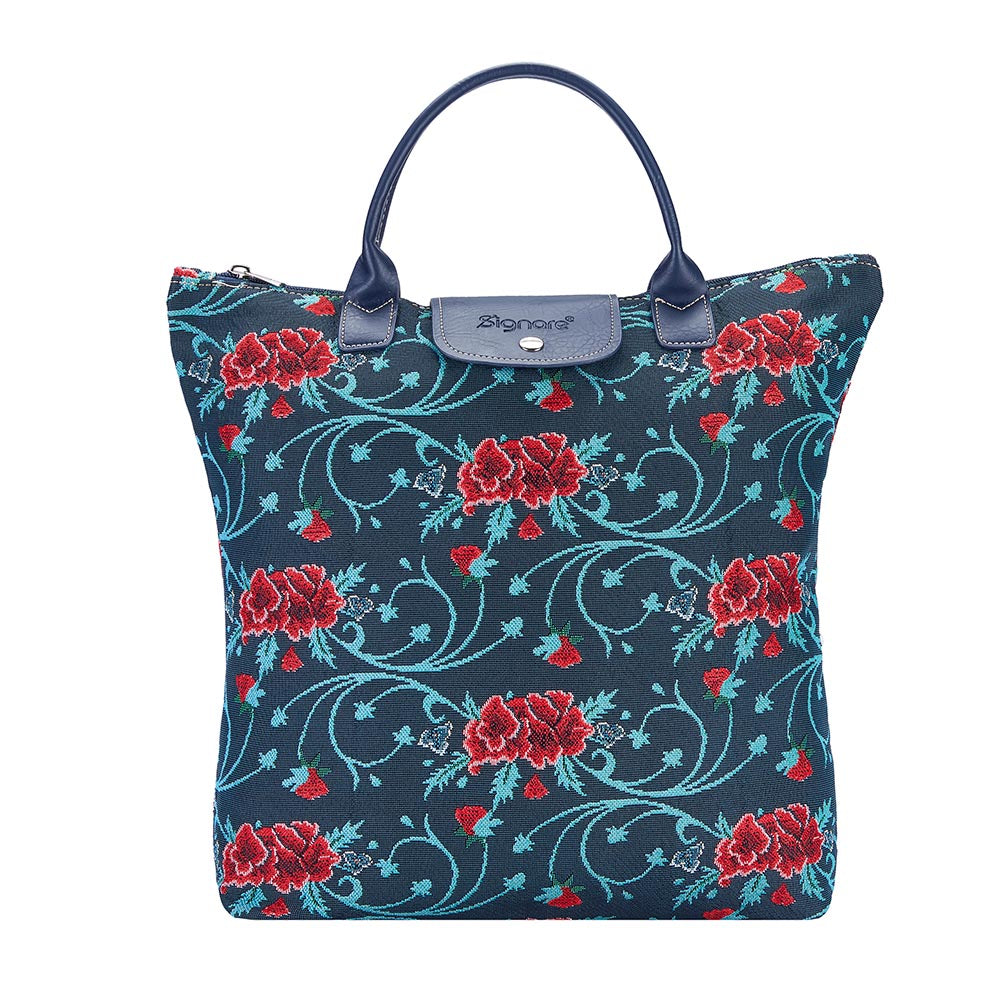 Frida Kahlo Carnation Fold Away Shopping Bags | Tapestry Foldable Tote Bag | FDAW-FKCARN