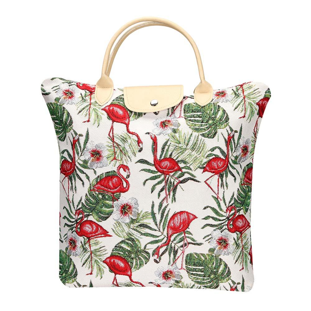 Flamingo Foldaway Shopping Bags | Tapestry Foldable Tote Bag | FDAW-FLAM