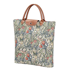 William Morris Golden Lily Fold Away Shopping Bag | Floral Art Carry Bag | FDAW-GLILY