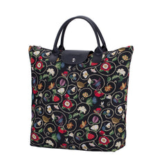 Jacobean Dream Foldaway Shopping Bag | Black Foldable Tote Bag | FDAW-JACOB