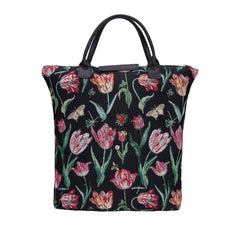 Marrel's Tulip Black Foldaway Shopping Bag | Black Tapestry Foldable Tote Bag | FDAW-JMTBK