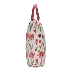 Marrel's Tulip White Foldaway Shopping Bag | Floral Tapestry Foldable Tote Bag | FDAW-JMTWT