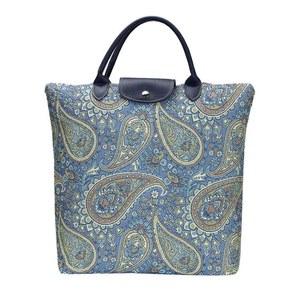 Paisley Fold away shopping bag | Ladies Floral Collapsible Reusable Tapestry Tote | FDAW-PAIS