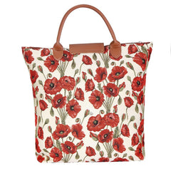 Poppy Foldaway Shopping Bag | Floral Tapestry Foldable Shopping Bag | FDAW-POP