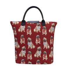 Pug Foldaway Shopping Bag | Cute Tapestry Foldable Tote Bag | FDAW-PUG