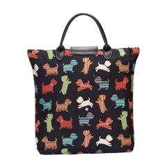 Playful Puppy Foldable Shopping Bag | Black Resuable Tapestry Bag | FDAW-PUPPY