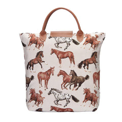 Running Horse Foldaway Shopping Bag | Brown Foldable Tote Bag | FDAW-RHOR