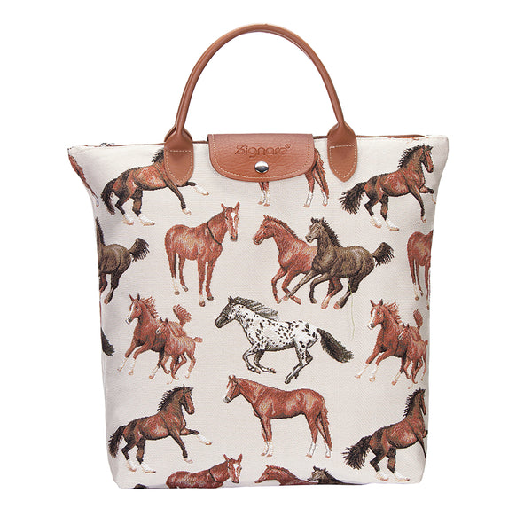 Running Horse Foldable Shopping Bag | Unique Elegant Reusable Compact Folding Handbag | FDAW-RHOR