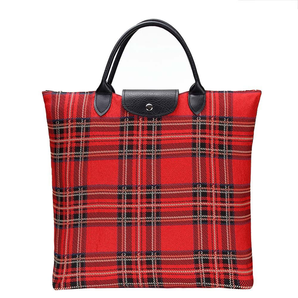 Royal Stewart Tartan Foldaway Shopping Bag | Red Tapestry Foldable Tote Bag | FDAW-RSTT