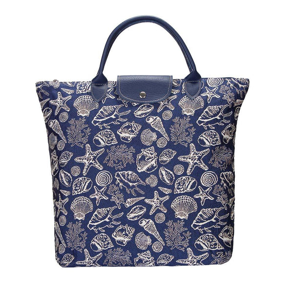 Sea Shell Fold Away Shopping Bag | Blue Tapestry Reusable Compact Tote | FDAW-SHELL