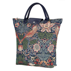 William Morris Strawberry Thief Blue Foldaway Shopping Bag | Blue  Foldable Bag | FDAW-STBL