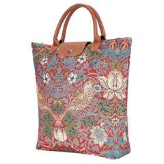 William Morris Strawberry Thief Red Foldaway Shopping Bag | Tapestry Art Foldable Bag | FDAW-STRD