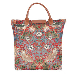 William Morris Strawberry Thief Red Foldaway Shopping Bag | Red Foldable Bag | FDAW-STRD