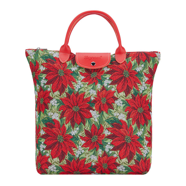 Christmas Poinsettias Foldaway Shopping Bag | Red Foldable Tote | FDAW-XMAS-POIN