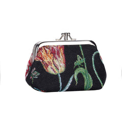 Marrel's Tulip Black Frame Purse | Floral Tapestry Coin Purse | FRMP-JMTBK