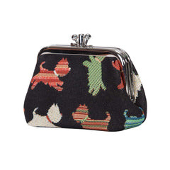 Playful Puppy Frame Purse | Black Tapestry Coin Purse | FRMP-PUPPY