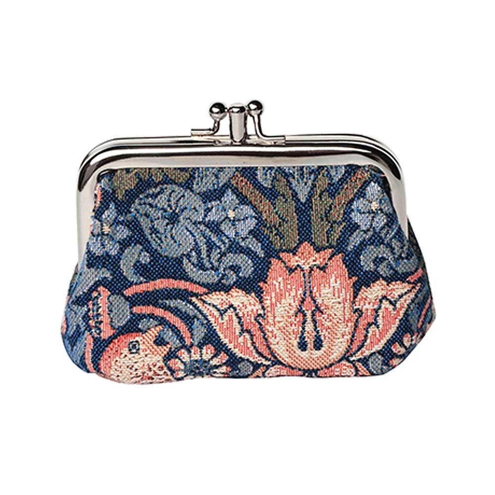 William Morris Strawberry Thief Blue Frame Purse | Tapestry Coin Purse | FRMP-STBL