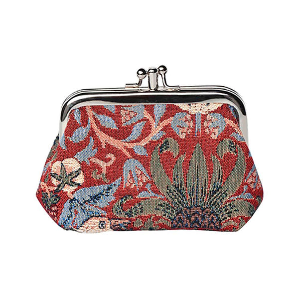 William Morris Strawberry Thief Red Frame Purse | Designer Art Unique Change Coin | FRMP-STRD