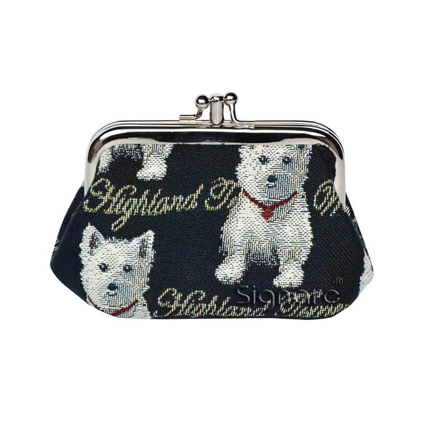 Westie Frame Purse | Black Tapestry Coin Purse | FRMP-WES