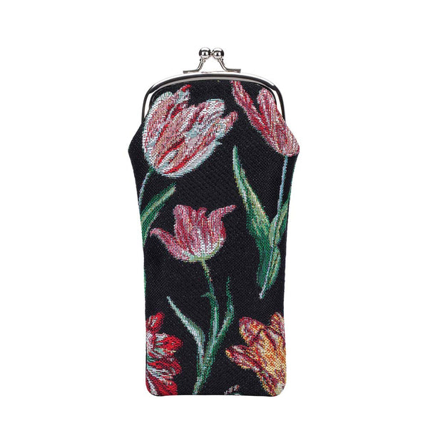 Marrel's Tulip Black Glasses Pouch | Black Tapestry Floral Glasses Case | GPCH-JMTBK
