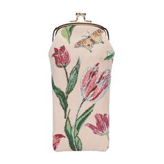 Marrel's Tulip White Glasses Pouch | Floral Fabric Glasses Case | GPCH-JMTWT