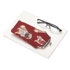 Pug Glasses Pouch | Red Tapestry Glasses Case | GPCH-PUG