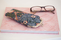 William Morris Strawberry Thief Blue Glasses Pouch | Blue Floral Glasses Case | GPCH-STBL