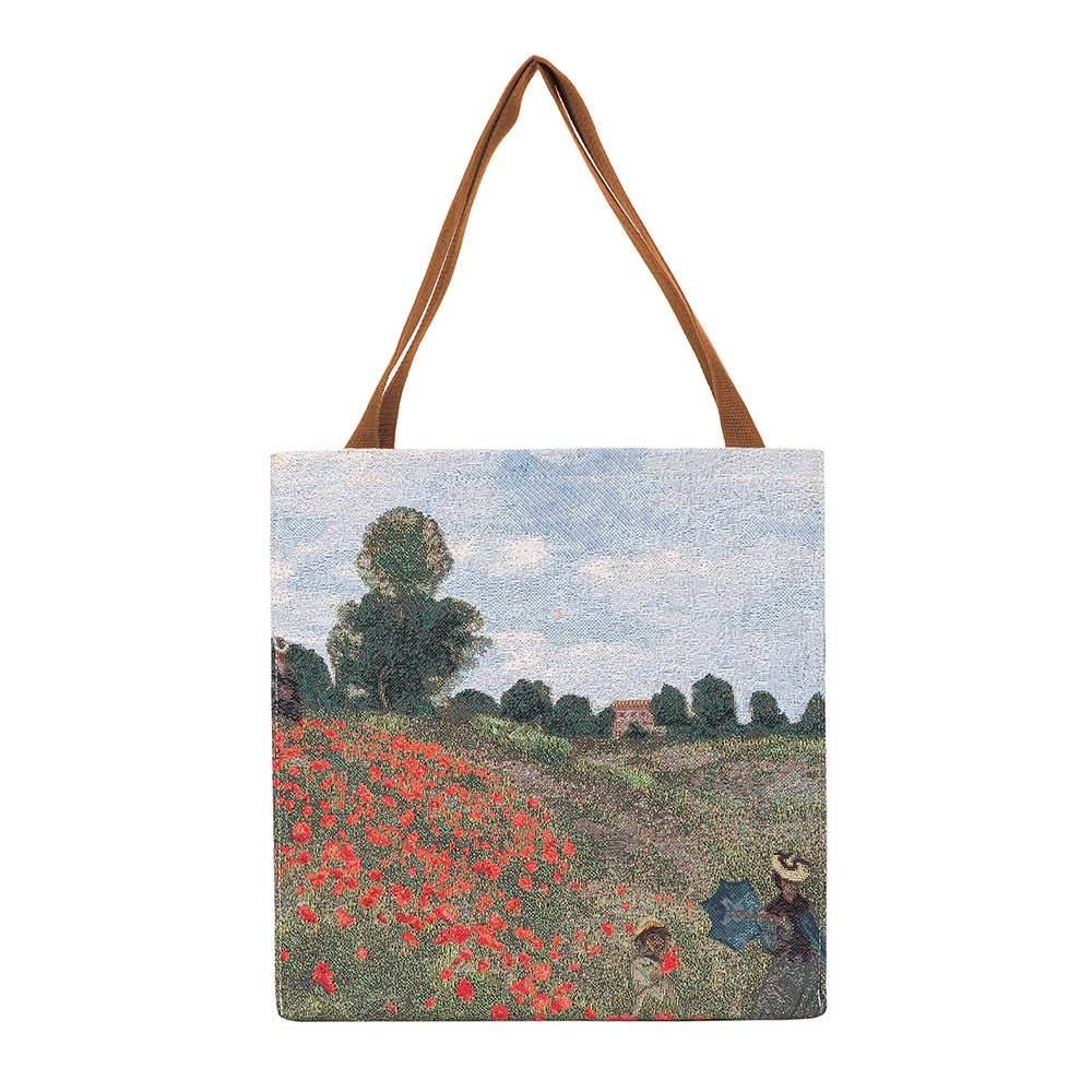 Monet Poppy Field Gusset Bag | Tapestry Foldable Shopping Bag | GUSS-ART-CM-POPFL