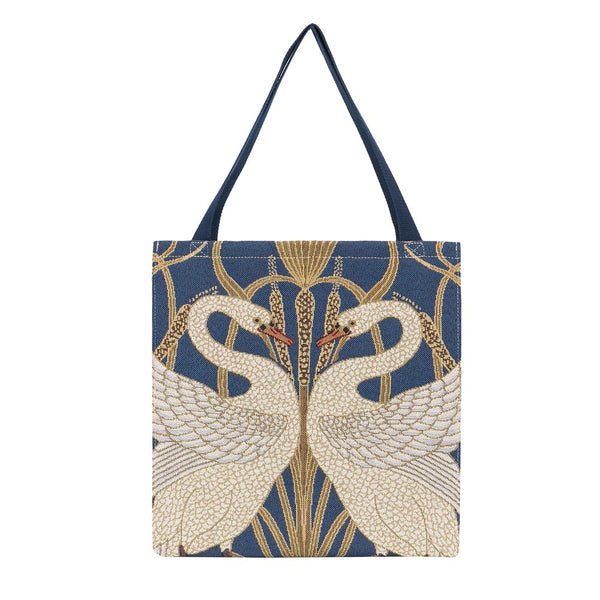 Walter Crane Swan Gusset Bag | Blue Tapestry Eco Foldable Bag | GUSS-ART-WC-SWAN